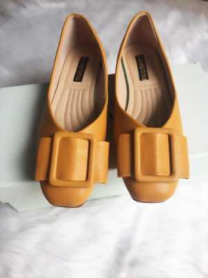 Giày bệt mũi vuông trơn màu đính nơ bản to Mã 990-20
