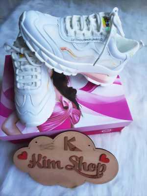 Giày thể thao nữ trắng viền phản quang đế 5P Mã 9105