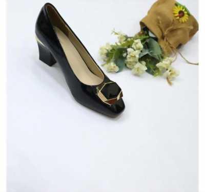 Giày cao gót 5P công sở bóng mũi vuông nơ khóa