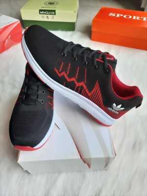 Giày sneaker nam đen vân gợn sóng đỏ Mã 1880 D