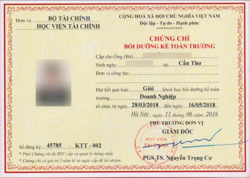 Đào tạo KẾ TOÁN TRƯỞNG doanh nghiệp tại Tiền Giang