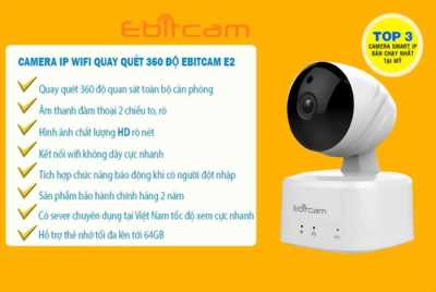 Camera IP wifi không dây quét 360độ Ebitcam