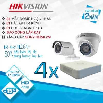 TRỌN BỘ 4 CAMERA HIKVISION HD-TVI 2.0MP