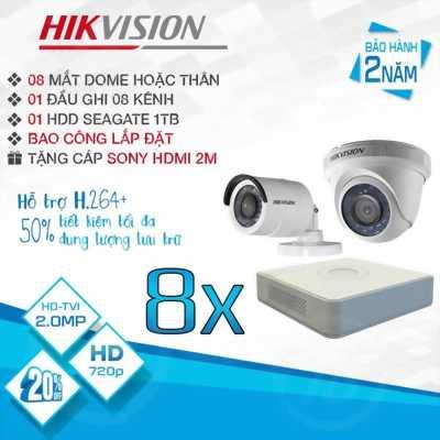 TRỌN BỘ 8 CAMERA HIKVISION HD-TVI 2.0MP
