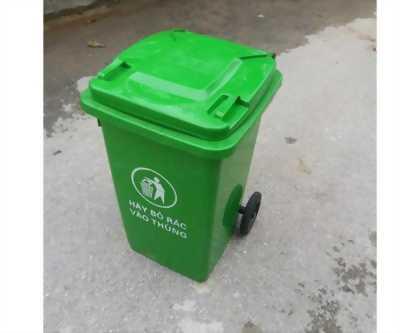 Thùng rác nhựa 100L có 2 bánh xe giá rẻ, kt: 470 x 530 x 790 mm