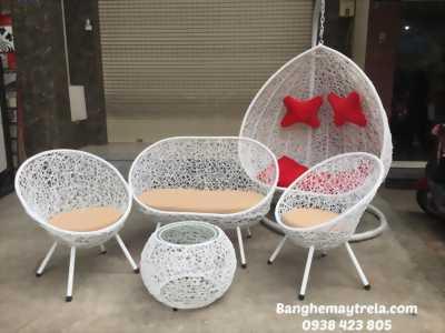 Bàn ghế đan rối nhựa giả mây