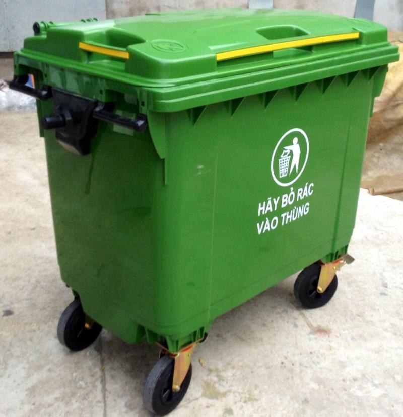Thùng đựng rác 3 ngăn phân loại rác chất liệu Composite