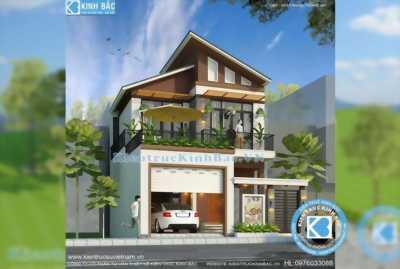 Thiết kế biệt thự hiện đại mái lệch tại Nghệ An KT03717