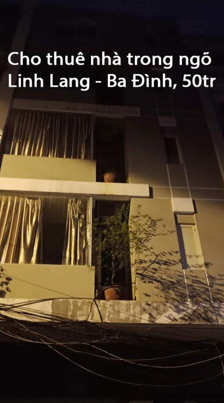 Cho thuê nhà trong ngõ Linh Lang - Ba Đình, 50tr