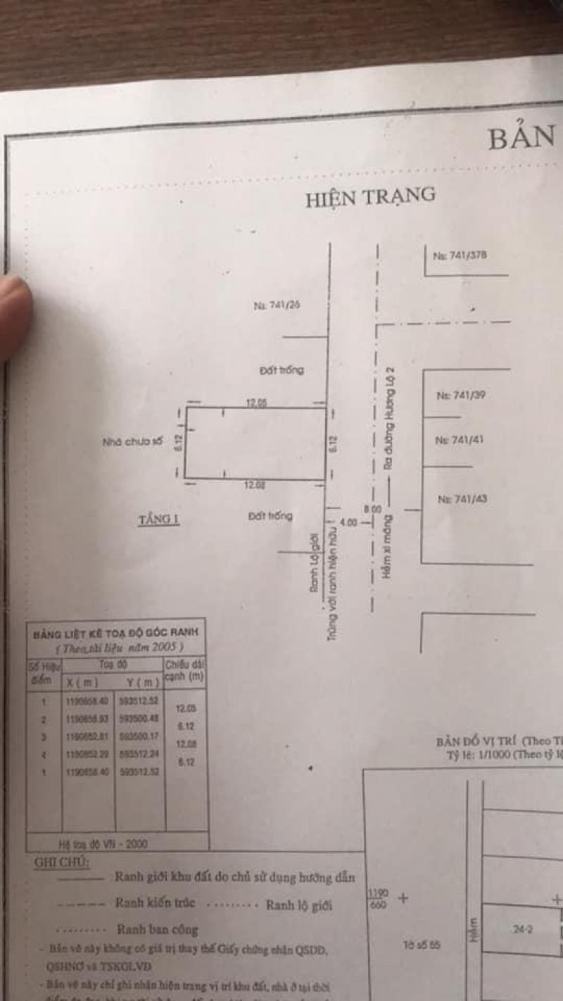 Nhà cấp 4, dt 6.2x13m gp xây dựng 4 Tấm Hương Lộ 2