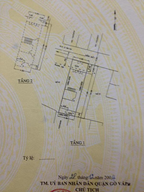 Nhà 1lầu  HxH 4.9x16.1 đường số 9 F9 Lê văn thọ