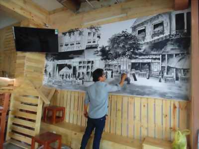 vẽ tranh tường. trang trí quán cafe .v.v