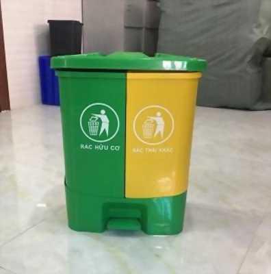 Thùng rác 3 màu vàng, xanh lá, xám phân loại rác, thùng rác có đạp chân chân