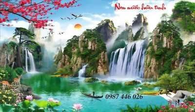 Tranh gạch men phong cảnh thác nước