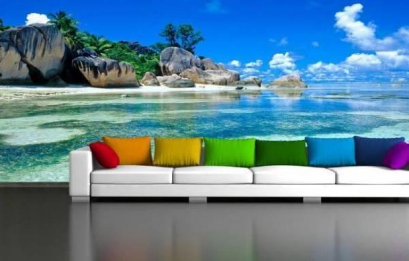 Gạch tranh bãi biển 3d ốp tường