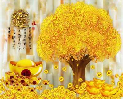 Gạch tran 3d cây tiền vàng trang trí
