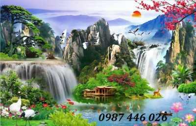 Tranh thác nước cây cỏ- Gạch tranh trang trí