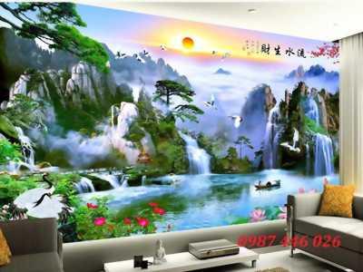 Gạch tranh 3d dán tường phòng khách đẹp