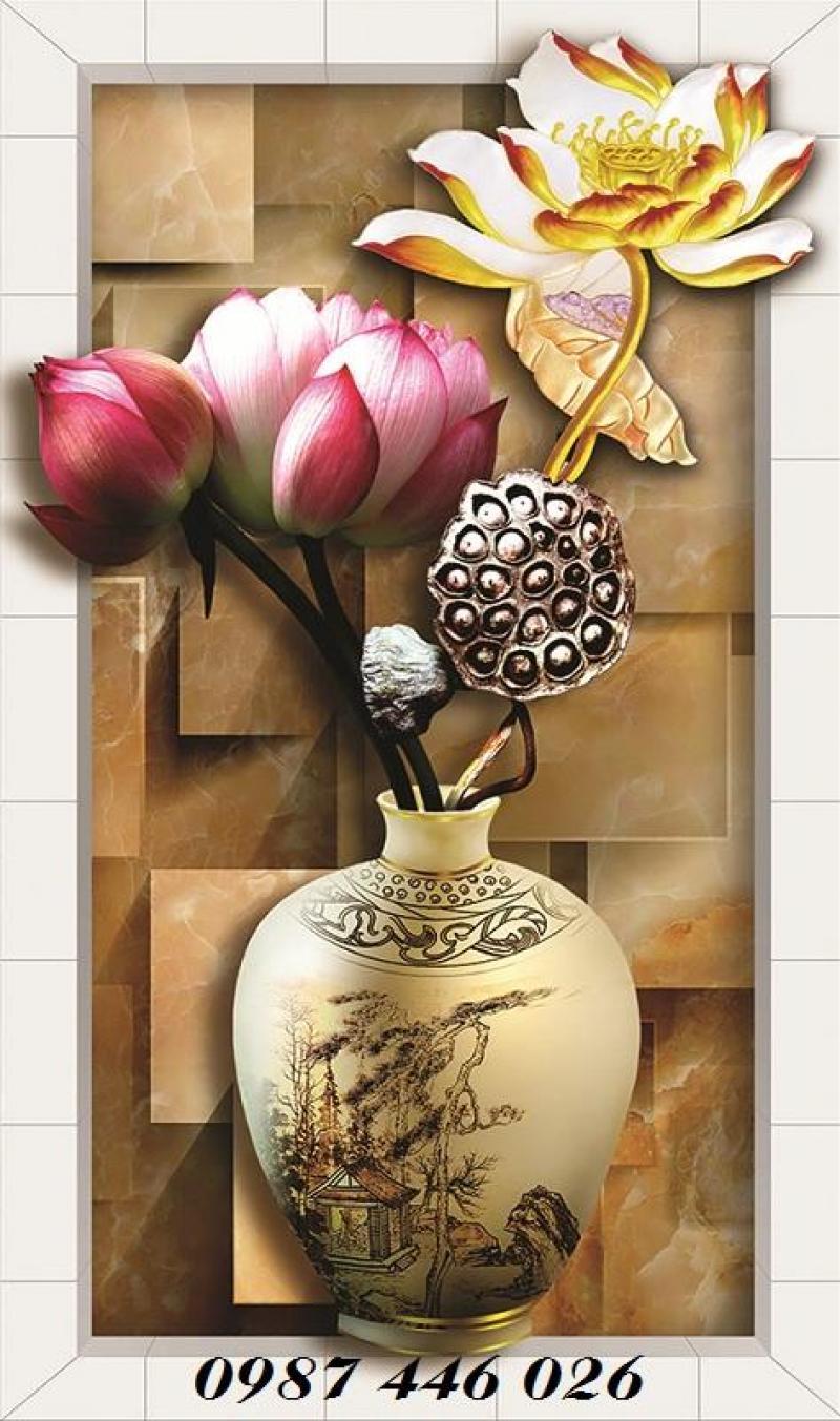 Gạch tranh 3d bình hoa