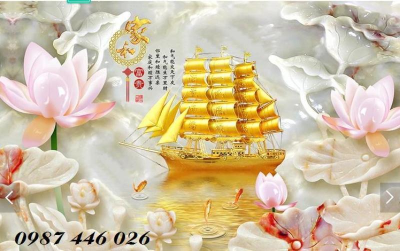 Tranh thuyền buồm vàng- gạch tranh 3d