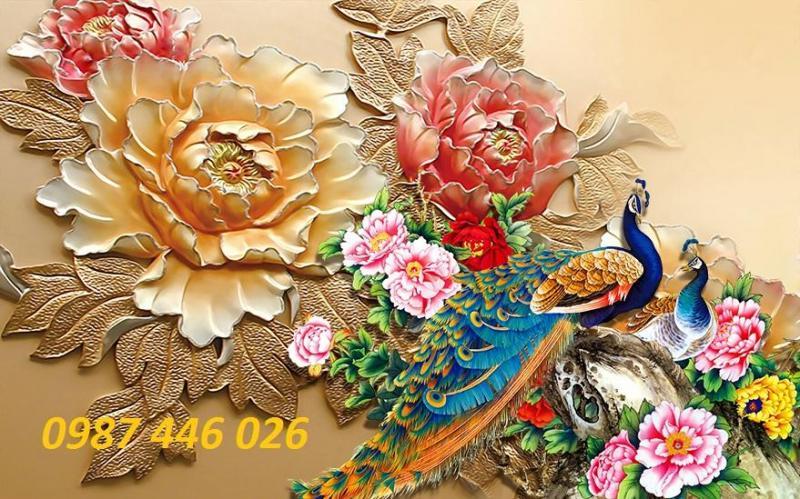Tranh 3d treo tường hoa mẫu đơn chim công