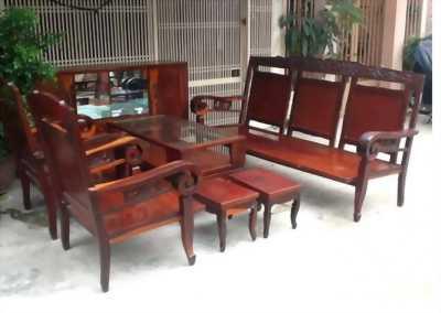 Bộ salon gỗ tay cuốn