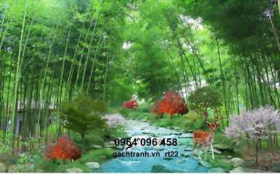 tranh gạch rừng tre trúc 3d