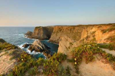 Tranh dán tường phong cảnh núi và biển