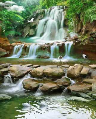 tranh gạch 3d thác nước