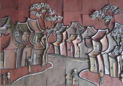 Tranh gốm dân gian ốp trang trí nội ngoại thất