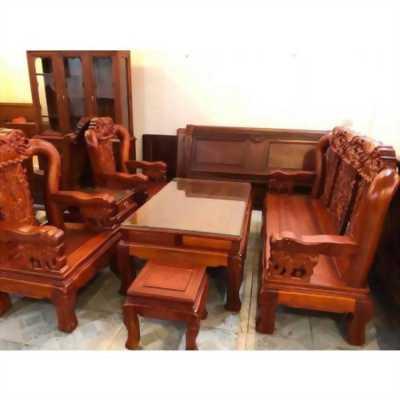 Bàn ghế phòng khách minh quốc voi gỗ hương đá tay 12