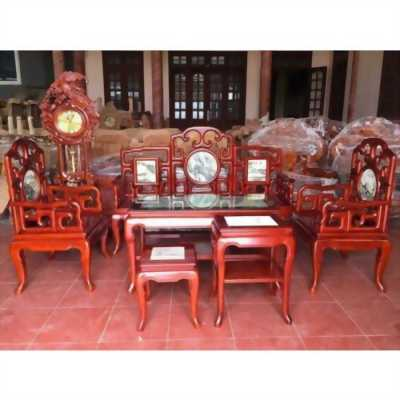 Bộ bàn ghế phòng khách móc mỏ gỗ gụ