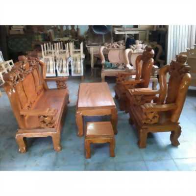Bộ bàn ghế giả cổ nghê đỉnh gỗ gõ đỏ