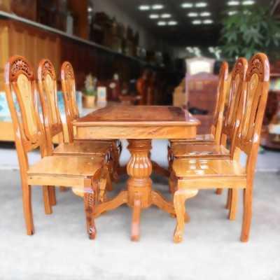 Bán 1 bộ bàn ghế ăn, gỗ thịt 6 ghế cực đẹp, mới