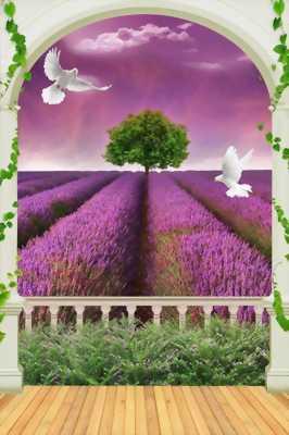 Tranh gạch men 3D cánh cửa khu vườn hoa tím