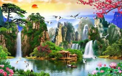 Tranh gạch men  3D phong cảnh