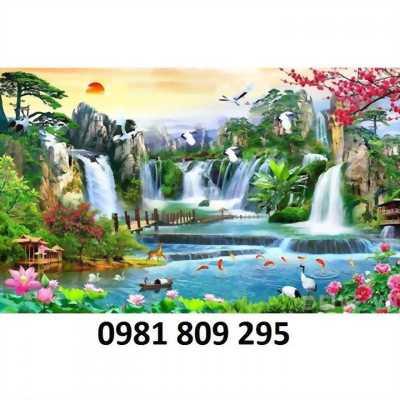 Tranh 3d phong cảnh thác nước con cò