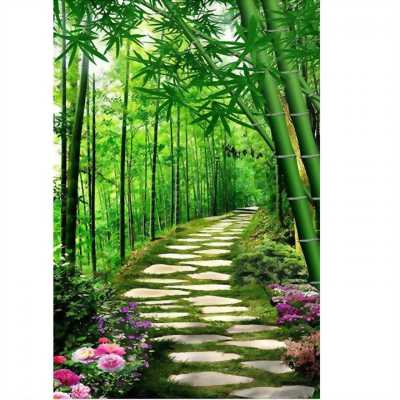tranh 3d cây  che xanh