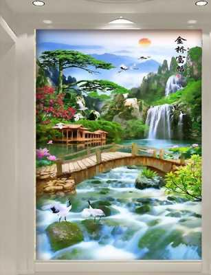 Gạc tranh 3d phong cảnh sông nước thiên nhiên