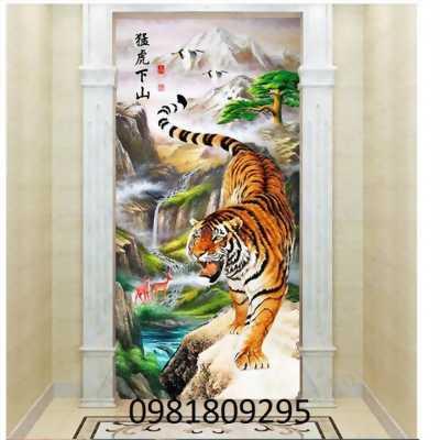Gạch tranh 3d con hổ trang trí phòng khách