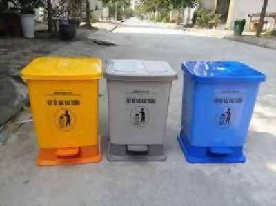 Thùng rác nhựa đạp chân 20L - thùng rác văn phòng gia đình