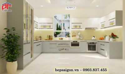 Tủ bếp chữ U cho không gian bếp rộng