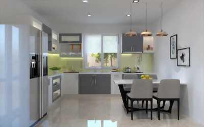 Mẫu tủ bếp mới phối hợp màu trắng xám thanh lịch