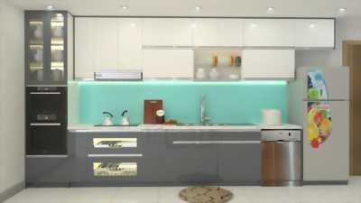 Tủ bếp chữ I thiết kế nhỏ gọn, phù hợp cho nhà phố