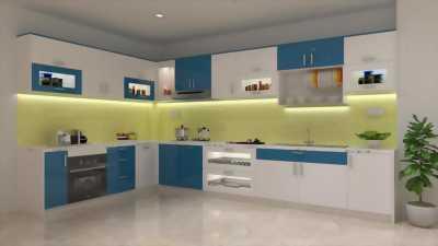 Tủ bếp acrylic chữ L phong cách hiện đại