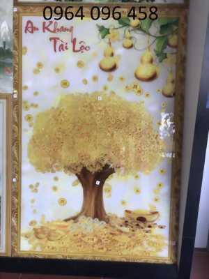 tranh 3d phòng khách cây tiền vàng