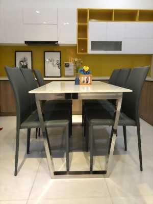 Bộ bàn ghế ăn 6 ghế mặt đá