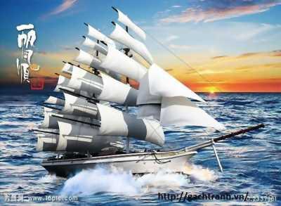 tranh 3d phong thủy thuyền buồm