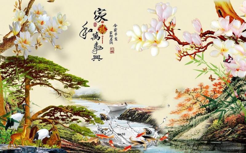 tranh gạch 3d cây tùng phong thủy QY768