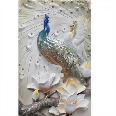 Tranh gạch 3D sứ ngọc chim công